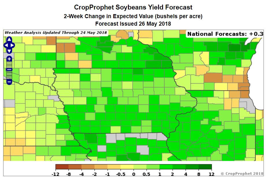Iowa Soybean Yield Oulook Cropprophet Us Crop Production Forecasts