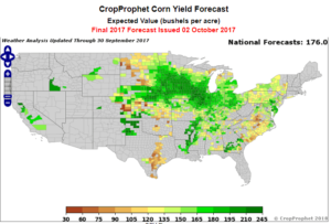 2017 County Corn Yield Forecast