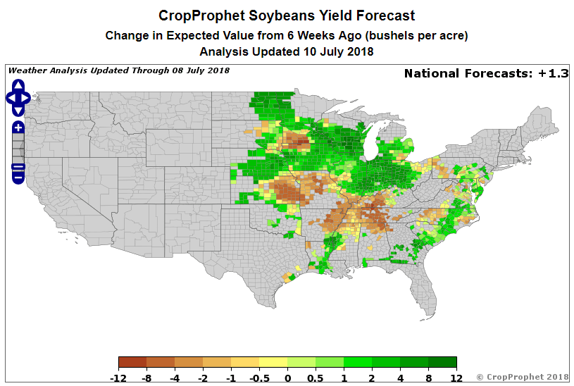 Soybean 6 Week Change in Yield Forecast