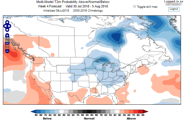 World Climate Service Week 4 Temperature Forecast