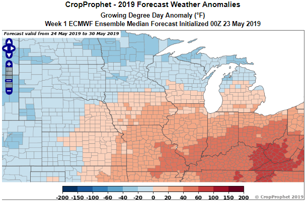 CropProphet ECMWF 1 week growing degree day anomaly forecast
