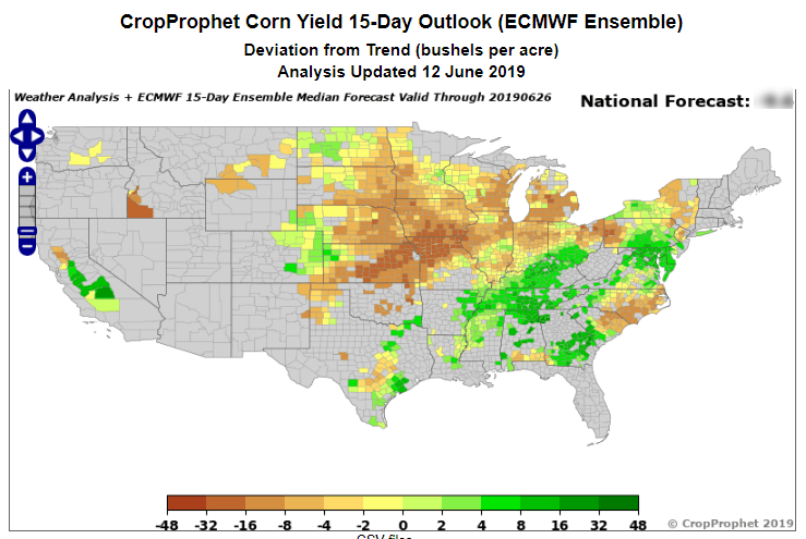 A CropProphet Deviation From Technology Trend Corn Yield Forecast