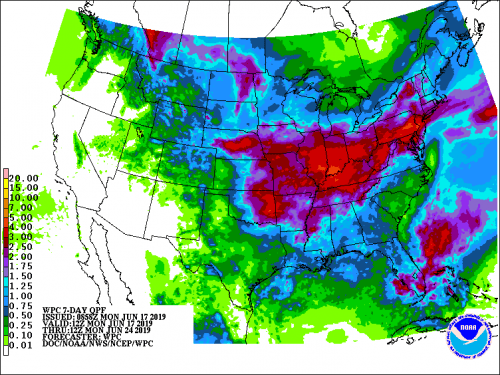 Map of the NWS 7-Day Precipitation Forecast