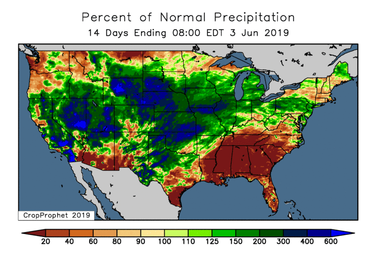 CropProphet Precipitation Analysis - End of May, 2019