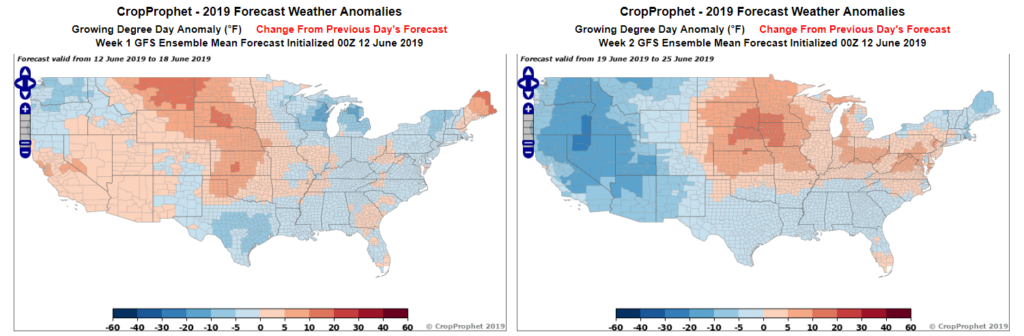 A map of GFS temperature run to run weather forecast change.