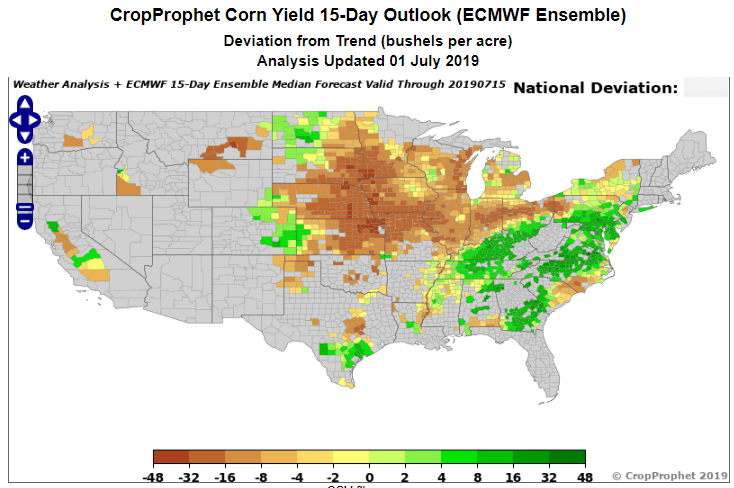 US Corn Yield Forecasts - CropProphet
