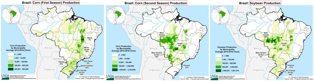 Brazil Corn and Soybean Production Regions. Provided by the USDA.