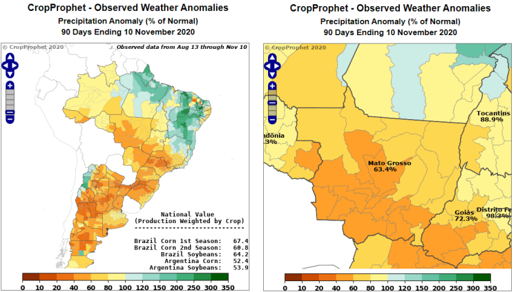 Brazil Soybean Weather: Brazil and Mato Grosso Precipitation Deviation from Normal
