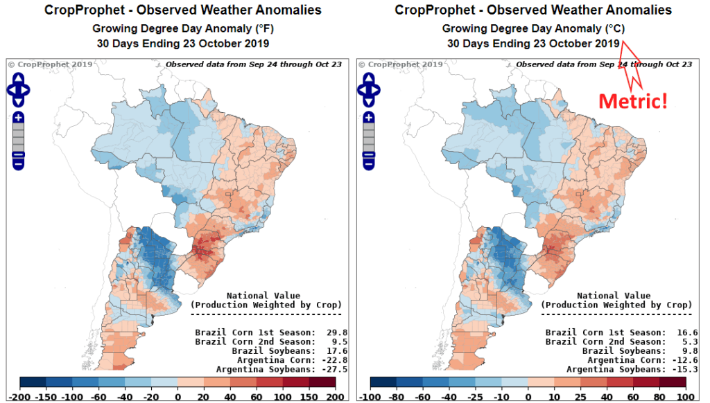 CropProphet goes Metric: Brazil Weather Information
