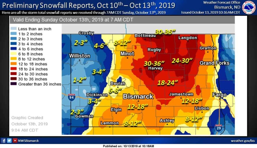 October 10 to 13 Estimated Snowfall