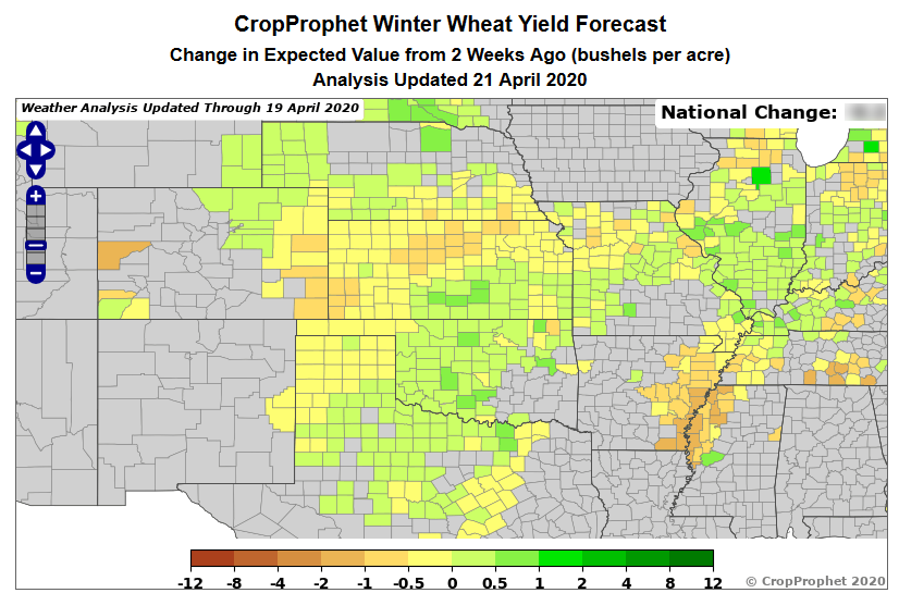 CropProphet: April 21, 2020 Change in Winter Wheat Yield forecast from two weeks ago