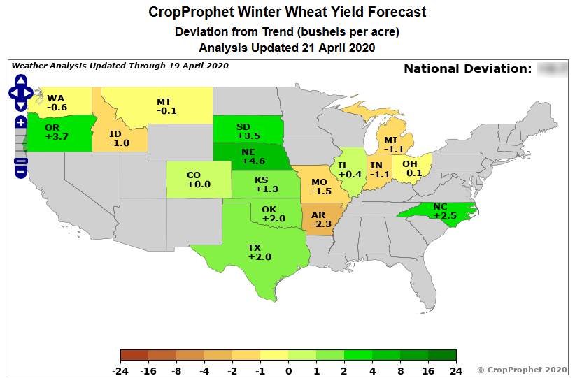 CropProphet US National Winter Wheat yield forecast: Deviation from technology trend analysis
