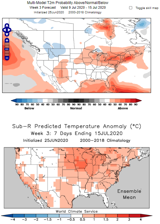 MME and SubR comparison: Midwest Heat Wave Forecast