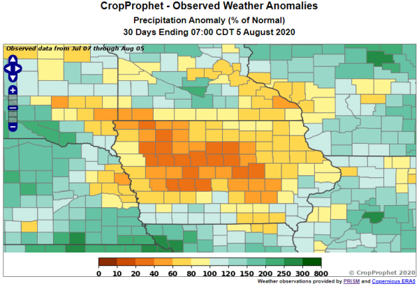 Iowa Drought - 30 day precipitation totals relative to normal
