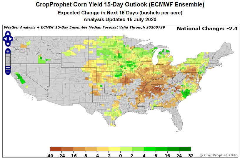 Example Corn Yield Forecast from ECWMF