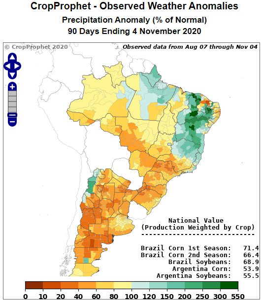 Argentina 90-day Observed Precipitation Analysis