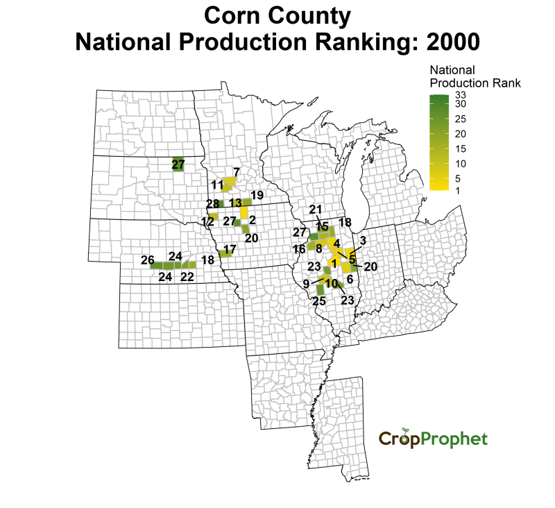 Corn Production by County - 2000 Rankings