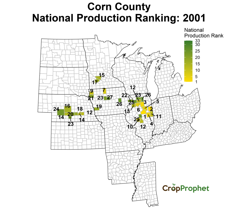 Corn Production by County - 2001 Rankings