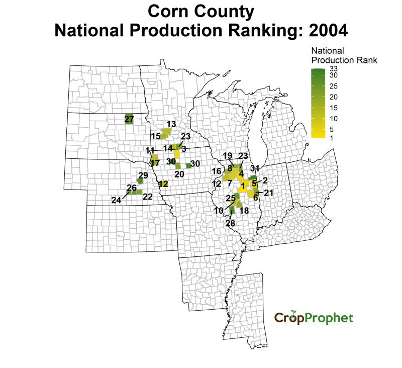 Corn Production by County - 2004 Rankings