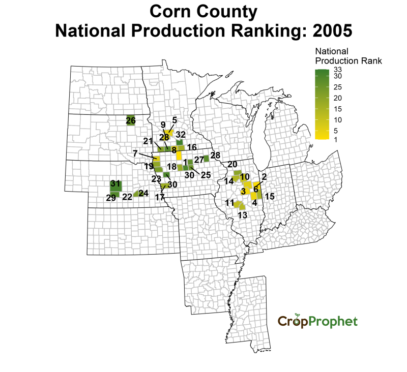 Corn Production by County - 2005 Rankings