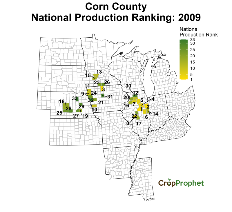 Corn Production by County - 2009 Rankings