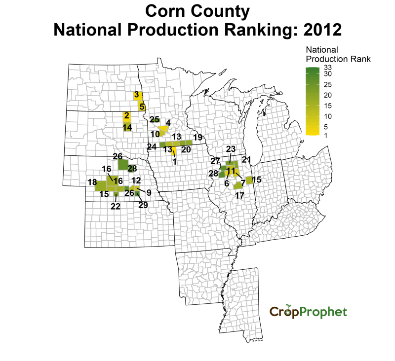 Corn Production by County - 2012 Rankings