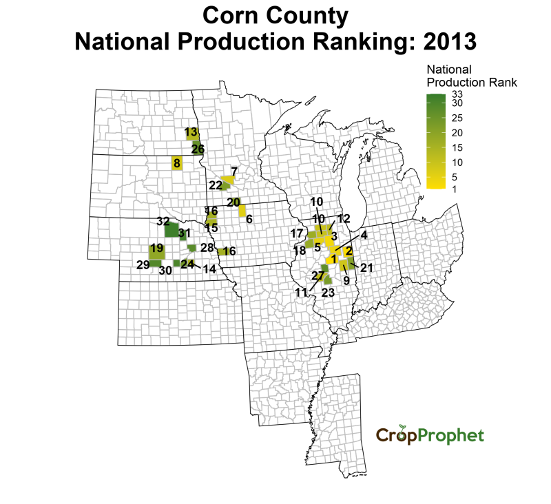 Corn Production by County - 2013 Rankings
