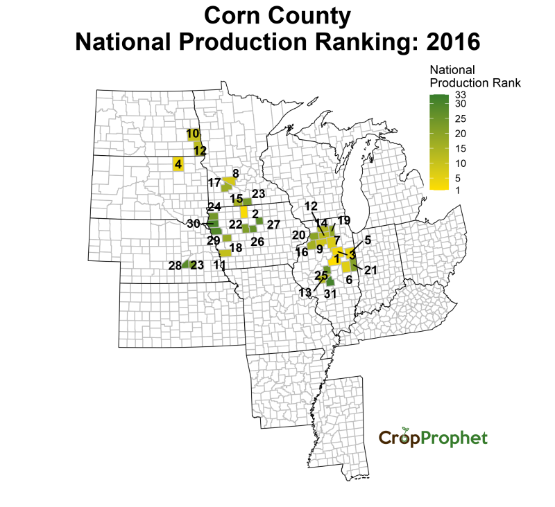 Corn Production by County - 2016 Rankings