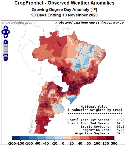 South America Observed Growing Degree Days Relative to Normal