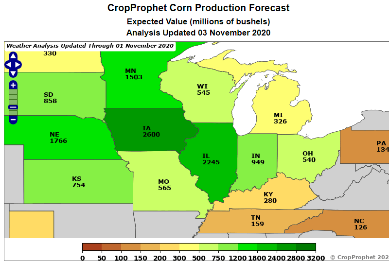 2020 US State Corn Production Forecast