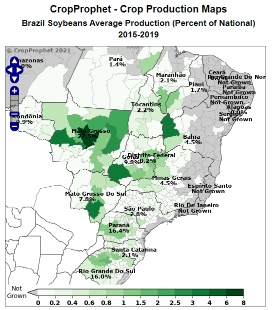 Brazil Soybean Production Map