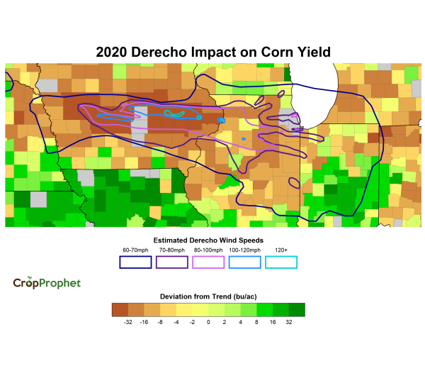Impact of the derecho on corn yields: A Map