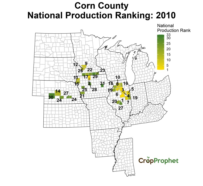 Corn Production by County - 2010 Rankings