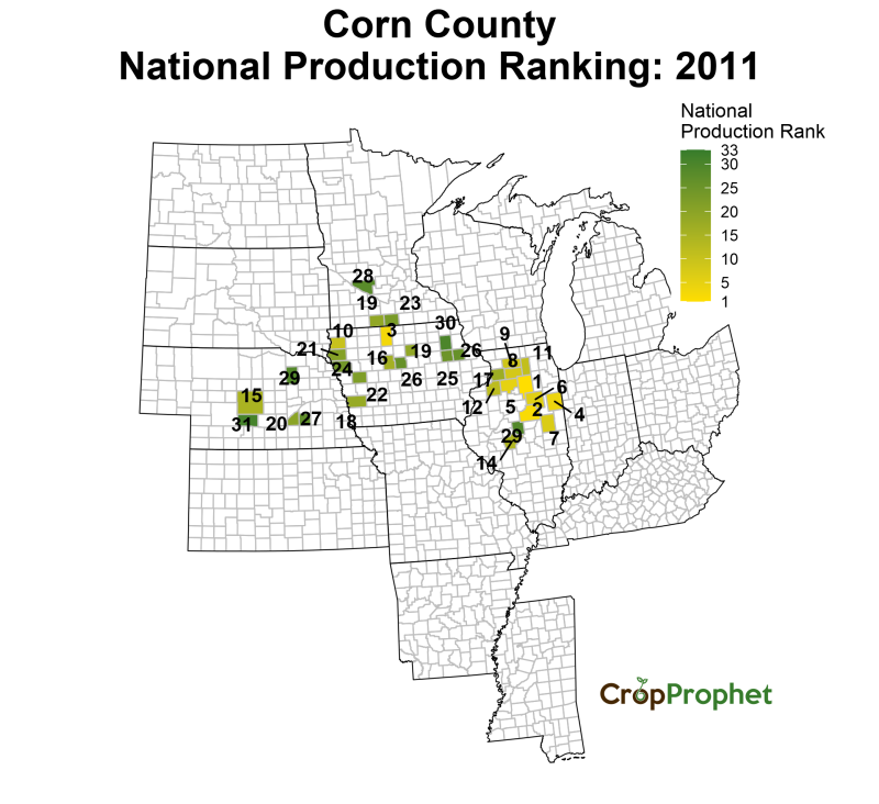 Corn Production by County - 2011 Rankings