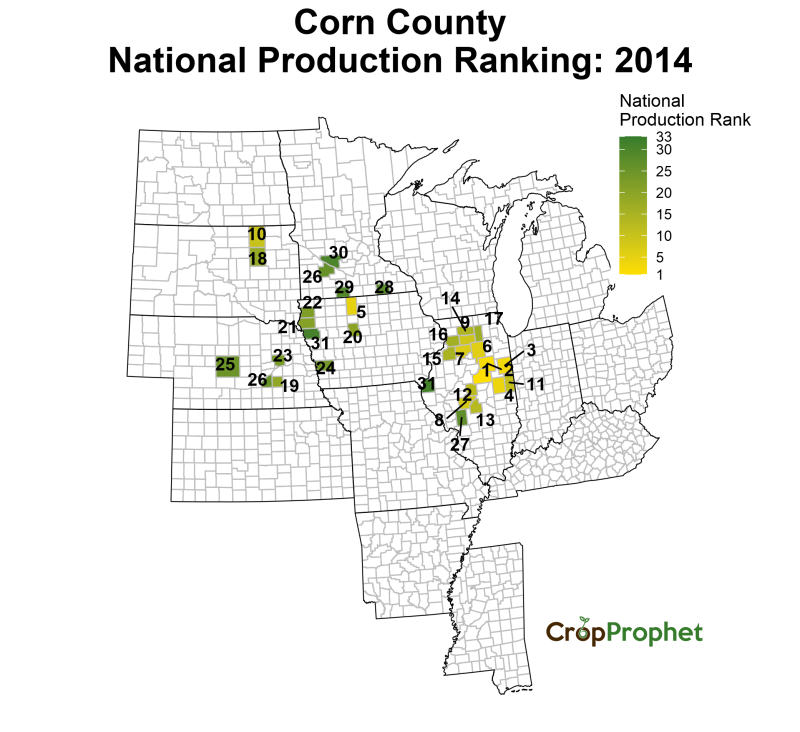 Corn Production by County - 2014 Rankings