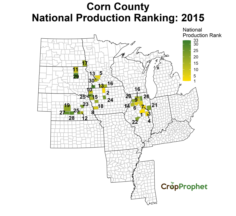 Corn Production by County - 2015 Rankings