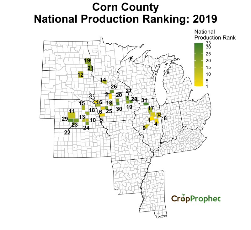 Corn Production by County - 2019 Rankings