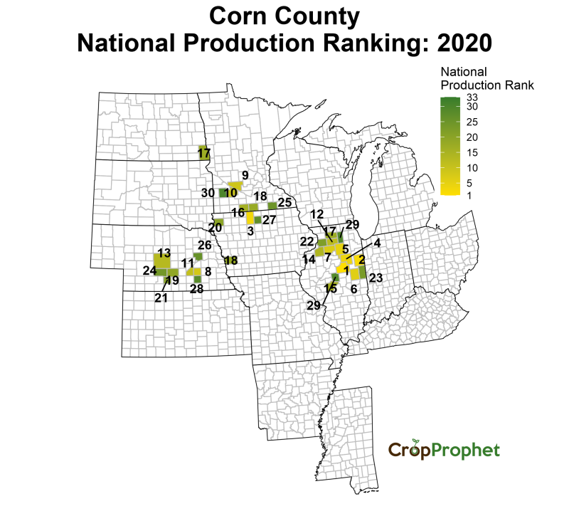Corn Production by County - 2020 Rankings